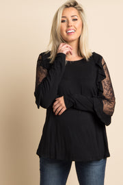 Black Solid Lace Ruffle Sleeve Maternity Top