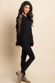 Black Solid Lace Ruffle Sleeve Top