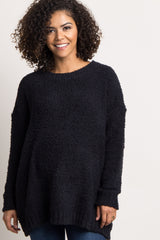 Black Fuzzy Knit Dolman Sleeve Maternity Sweater