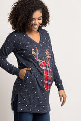 Navy Polka Dot Embroidered Plaid Deer Maternity Sweater