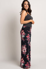 Black Floral Wide Leg Lounge Pants