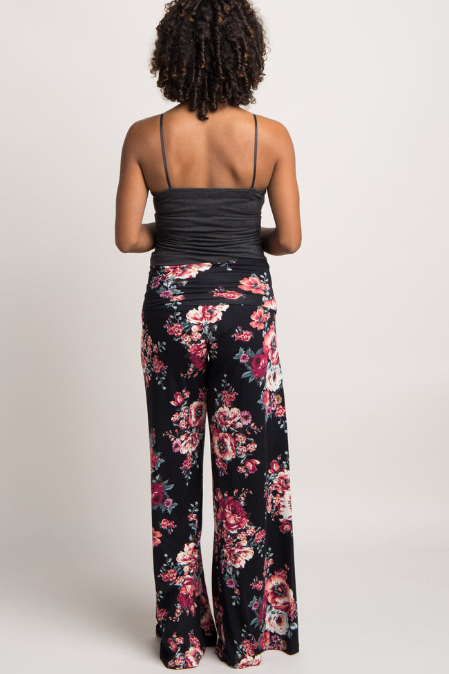 Black Floral Wide Leg Maternity Lounge Pants