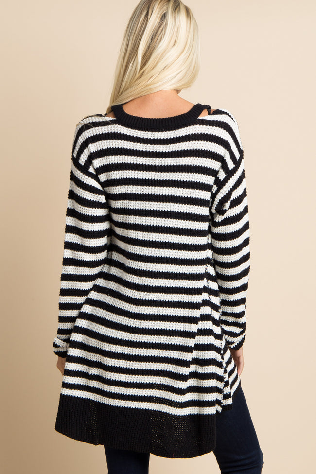 Black Striped Cutout Shoulder Knit Cardigan