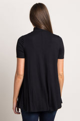 Black Basic Mock Neck Tunic
