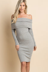 Heather Grey Foldover Off Shoulder Fitted Dress