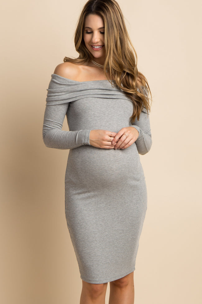 Heather Grey Foldover Off Shoulder Fitted Maternity Dress