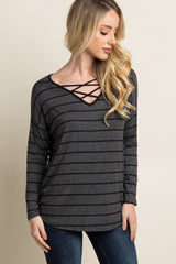Charcoal Grey Striped Crisscross Front Maternity Top