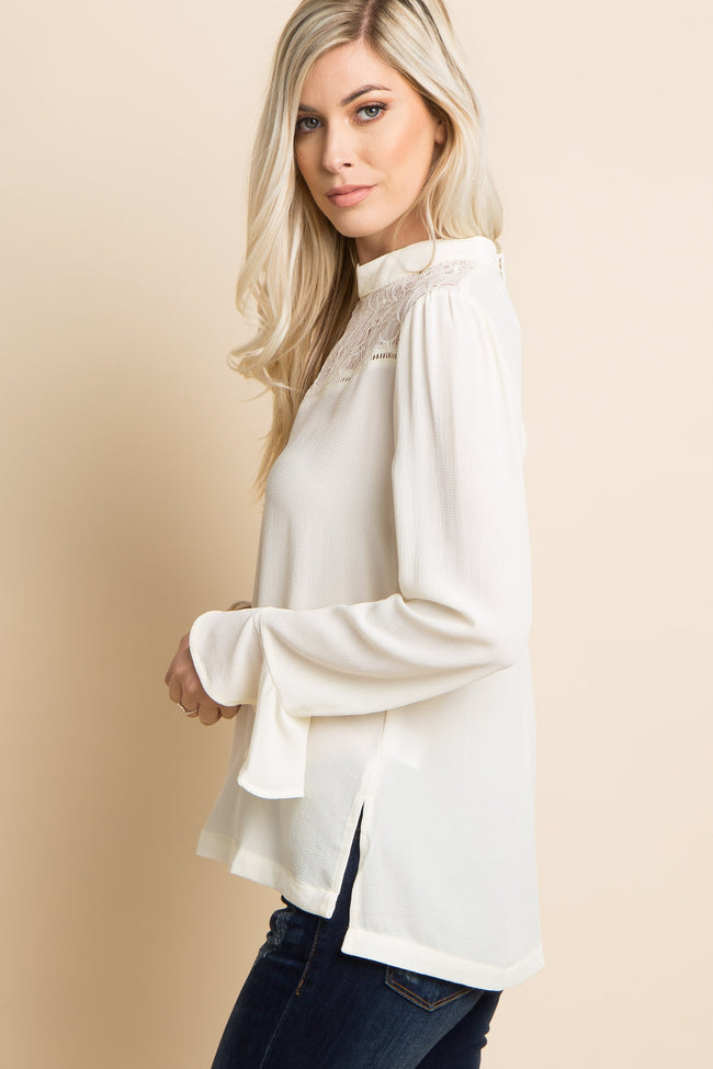 Ivory Lace Accent Ruffle Sleeve Blouse