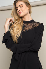Black Lace Accent Ruffle Sleeve Blouse
