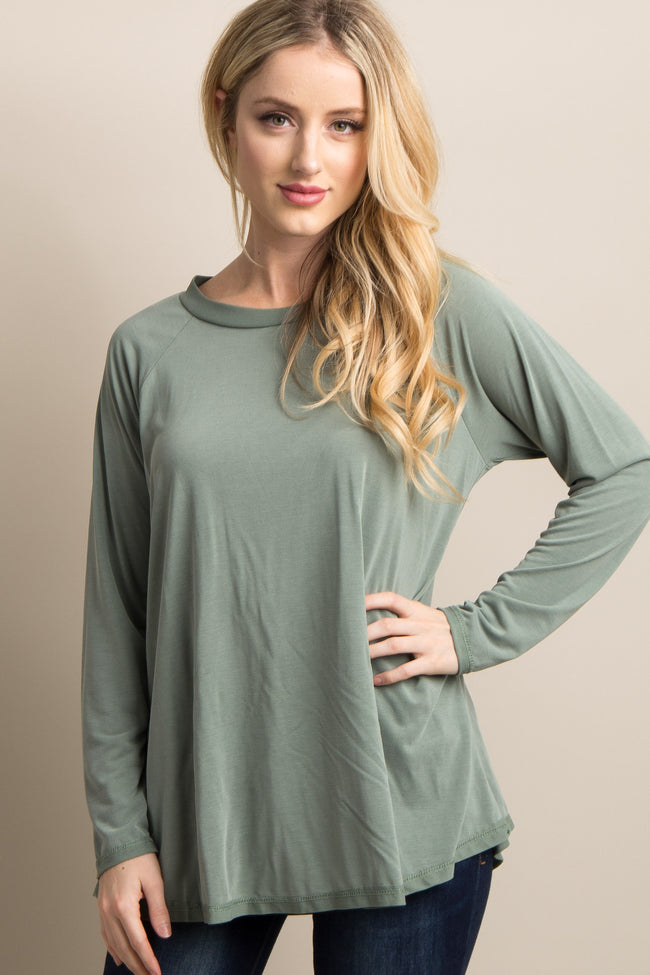 Olive Green Solid Long Sleeve Maternity Top