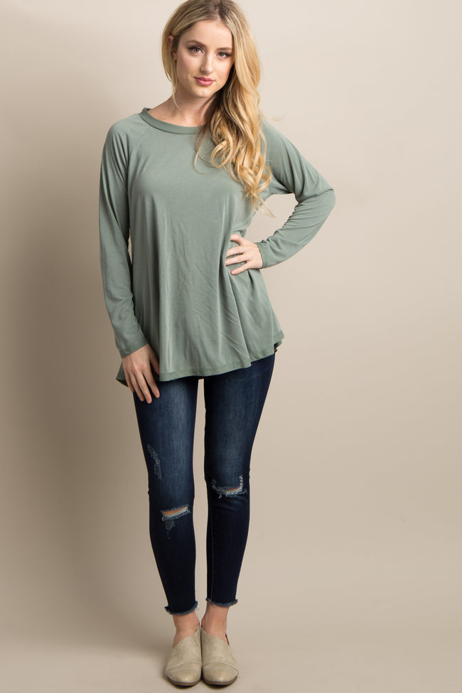 Olive Green Solid Long Sleeve Top