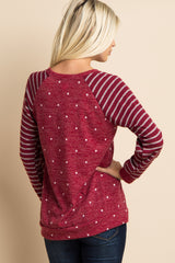 Burgundy Striped Sleeve Polka Dot Sweater