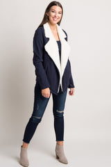 Navy Fuzzy Draped Maternity Jacket