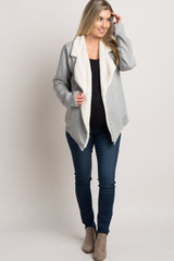 Heather Grey Fuzzy Draped Maternity Jacket