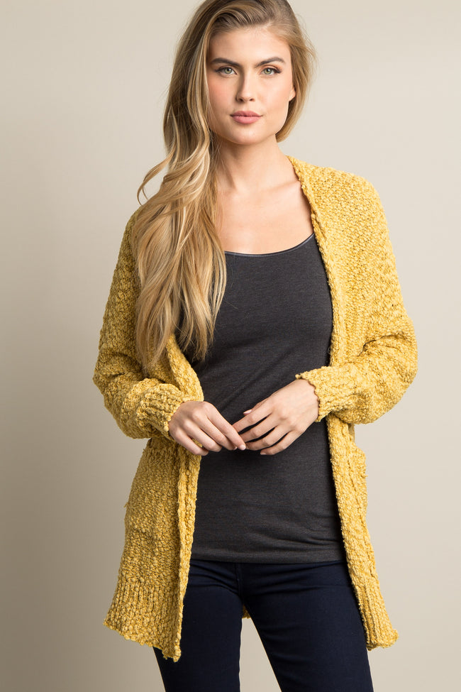 Yellow Popcorn Knit Pocket Front Maternity Cardigan