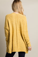 Yellow Popcorn Knit Pocket Front Cardigan