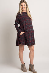 Burgundy Faded Plaid Maternity Sweater Dress