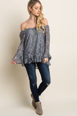 Grey Off Shoulder Lace Overlay Top