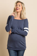 Navy Striped Sleeve Wide Neck Maternity Top