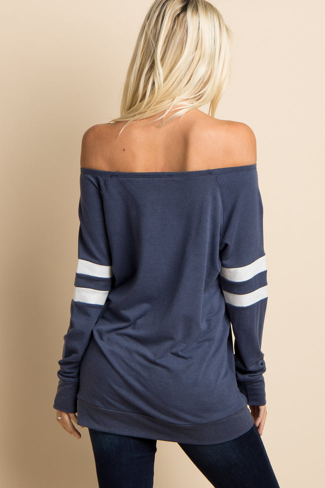 Navy Striped Sleeve Colorblock Wide Neck Top