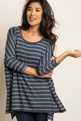Blue Striped Dolman Sleeve Soft Knit Top
