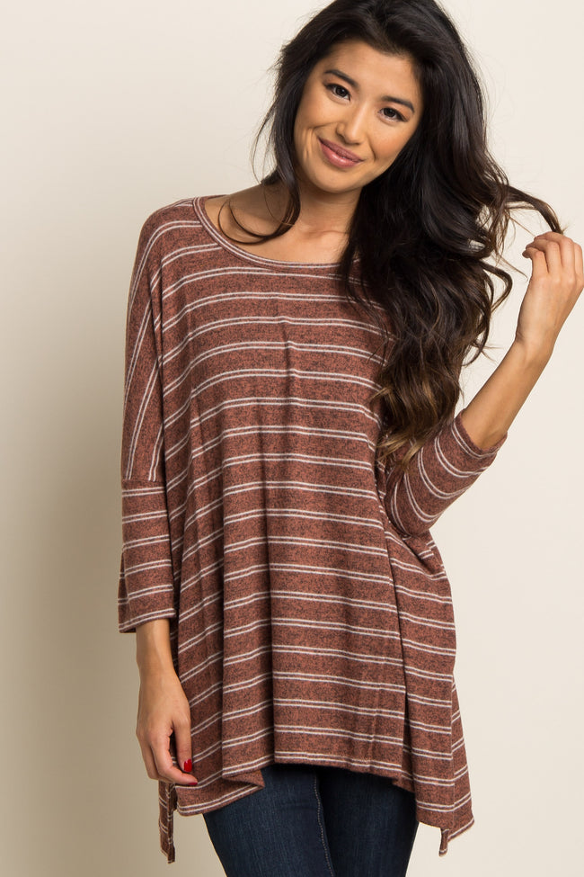 Rust Striped Dolman Sleeve Soft Knit Maternity Top