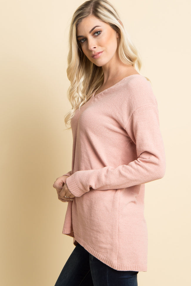 Pink Solid Knit V-Neck Sweater