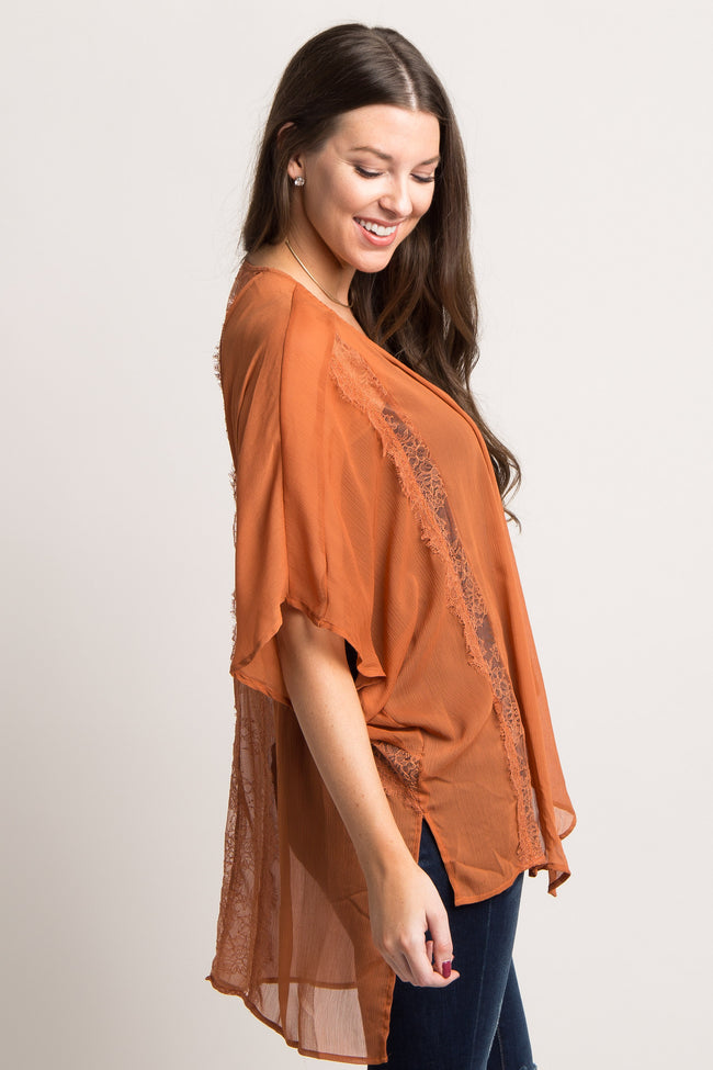 Orange Solid Chiffon Lace Accent Cover Up
