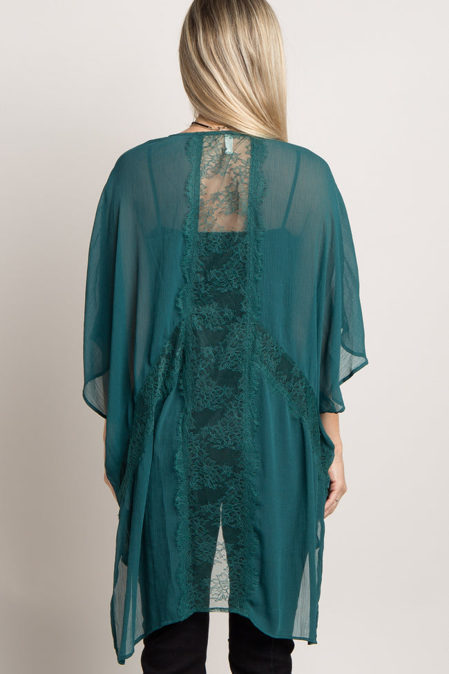 Emerald Green Solid Chiffon Lace Accent Maternity Cover Up