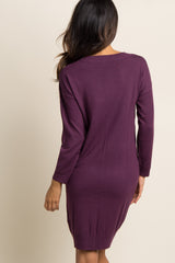 Purple Solid Long Sleeve Knit Dress
