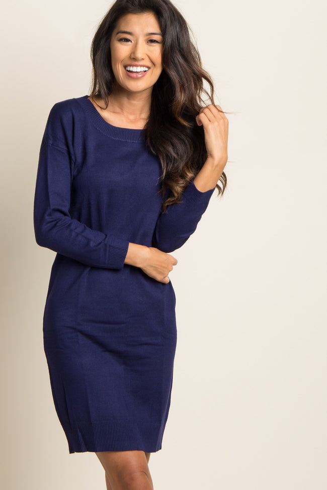 Navy Blue Solid Long Sleeve Knit Dress