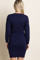 Navy Blue Solid Long Sleeve Knit Maternity Dress