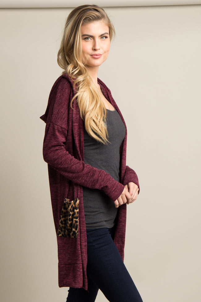 Burgundy Hooded Leopard Pocket Cardigan