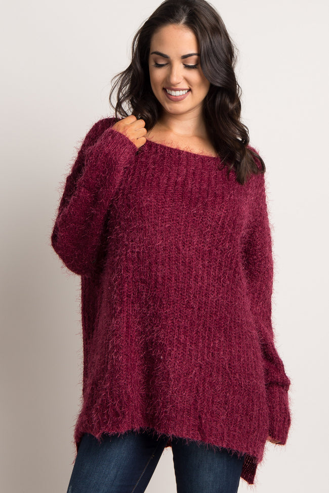 Burgundy Fuzzy Knit Sweater