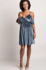 Navy Blue Ribbed Velvet Cold Shoulder Maternity Dress