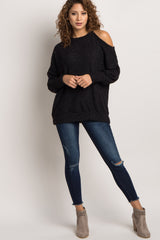 Black Open Shoulder Maternity Sweater