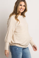 Beige Open Shoulder Maternity Sweater