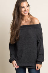 Black Ribbed Off Shoulder Women's Sweater