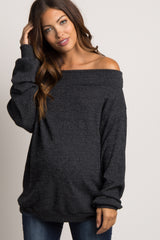 Black Ribbed Off Shoulder Maternity Sweater