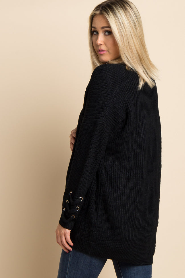 Black Knit Ladder Sleeve Accent Maternity Cardigan