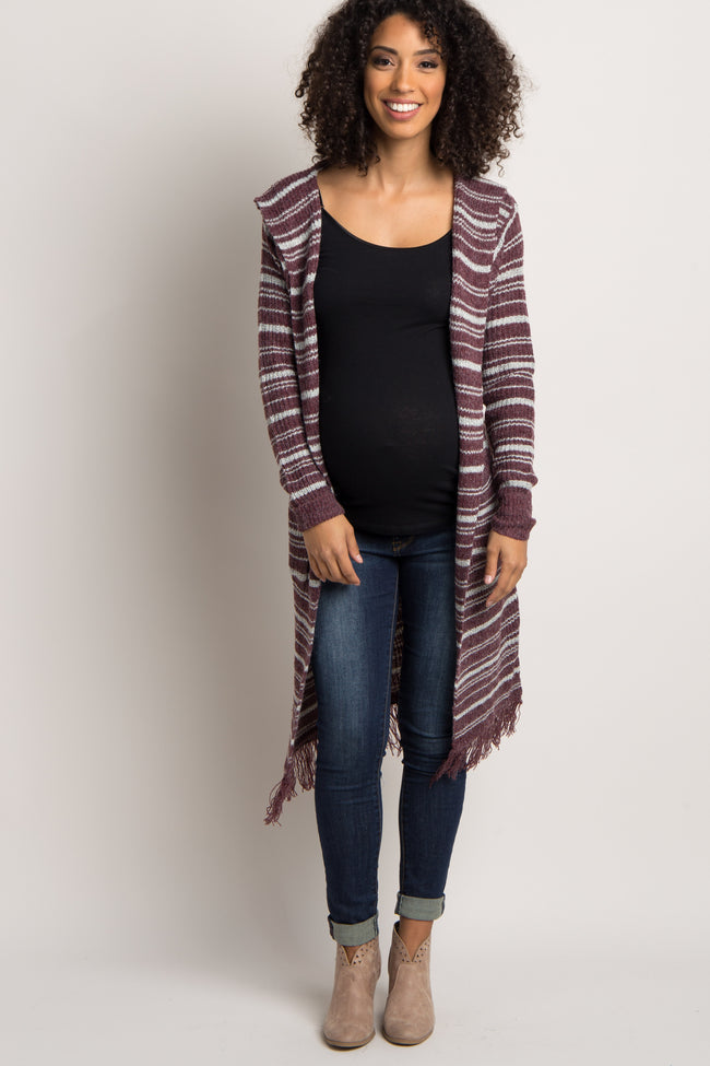 Burgundy Striped Hooded Long Fringe Maternity Cardigan