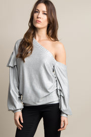 Silver Ruffle Off Shoulder Top