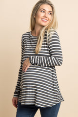 Charcoal Grey Striped Cutout Back Maternity Top