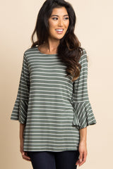 Olive Green Striped Bell Sleeve Top