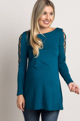 Teal Crisscross Sleeve Maternity Top