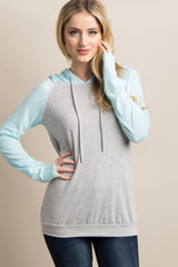 Light Blue Hooded Colorblock Maternity Top