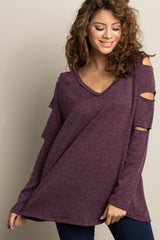 Purple Raw Cutout Open Shoulder Maternity Top