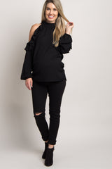 Black Solid Ruffle Trim Cold Shoulder Maternity Top