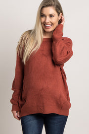 Rust Solid Knit Cutout Back Maternity Sweater