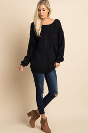 Black Solid Knit Cutout Back Sweater